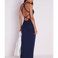 Missguided - Jersey Multi Back X-Strap Maxi Dress Navy