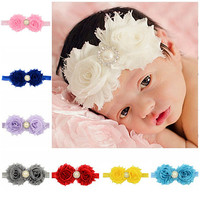 Infant Toddler 2015 Baby Girl Headbands Faux Pearl Rhinestone Flower  Hair Band Headdress baby accessories 6X6O