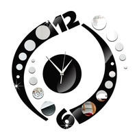 Creative Wall Clock Arc Acrylic 3D Mirror   silver mirror+black mirror