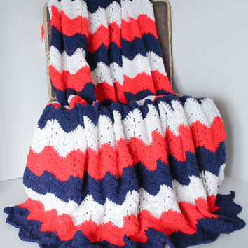 Afghan - Red White and Blue Chevron Blanket - Hand Crochet Ripple Afghan