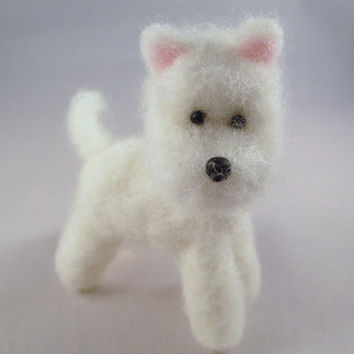 Needle Felted Animal - Wool Westie Collectible Dog Sculpture