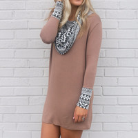 Desert Craze Mocha Cowl Neck Tribal Print Dress