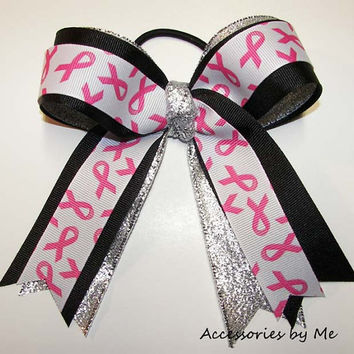 12 pcs Breast Cancer Team Cheer Bows Ponytail Streamer Girls Awareness Fundraiser Team Walks