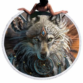 Wolf Warrior by SunimaArt - Tribal Wolf Throw Blanket