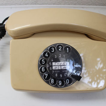 10% off vintage rotary telephone cream beige 80s