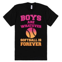 Boys Are Whatever Softball Is Forever-Unisex Black T-Shirt