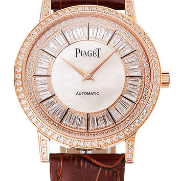 Swiss Piaget Altiplano Diamond Set Rose Gold Case And Pearl Dial Brown Leather Strap 1453744