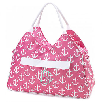 Large Beach Bag Tote Pink Anchors Nautical Monogrammed Personalized Pool