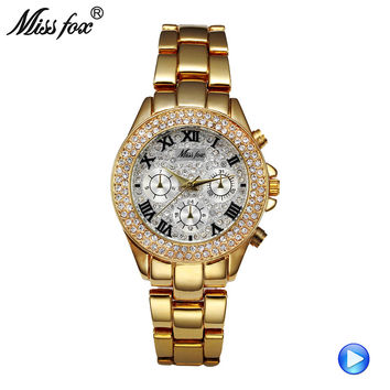 Miss Fox Ladies Wrist Watches Women Fashion Watch 2017 C Casual Golden Clock Charms Woman Watches 2017 Brand Luxury Quartz Watch