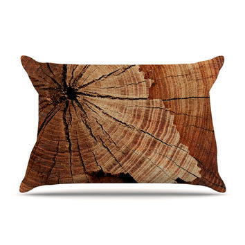 "Susan Sanders ""Rustic Dream"" Brown Wood Pillow Case"