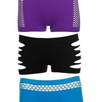 Black Turquoise Purple Seamless Hot Pants 3 Pack - 300333