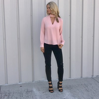 Keyhole Long Sleeve Top in Blush