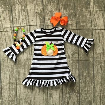 new Halloween baby girls Fall striped outfits dress pumpkin boutique cotton black children clothes match accessories embroidered