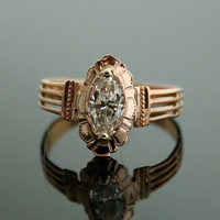 Antique Engagement Ring - Rose Gold and Marquis Diamond Ring