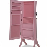 A.M.B. Furniture & Design :: Wall Mirrors :: Cheval mirrors :: Jada pink finish wood rectangular shaped Free standing cheval mirror jewelry armoire cabinet