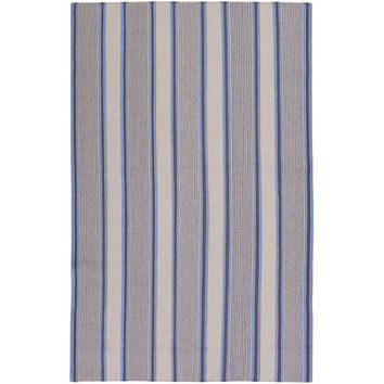 Surya Rugs FAR7008-58 Farmhouse Stripes Navy Rectangular: 5 Ft. x 8 Ft. Rug