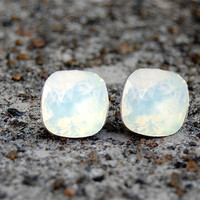 White Opal Swarovski Crystal Stud Earrings
