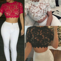 SEXY LACE SHORT-SLEEVED T-SHIRT