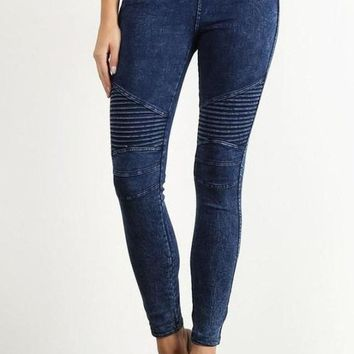 Jett Setter Distressed Moto Leggings [ Two Colors ]