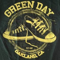 "NEW! Green Day ""All Star Oakland CA"" Punk Rock Band Adult Dark Green T-Shirt"