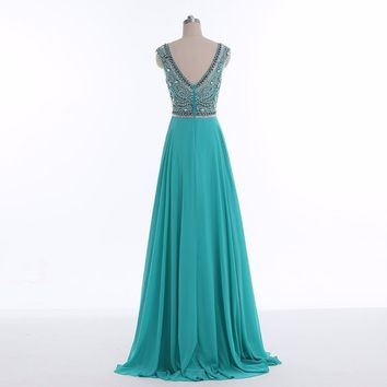 A Line Beaded Chiffon Cap Sleeves Women Long Prom Gown Evening Dresses