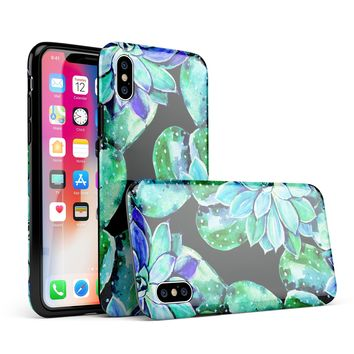 Watercolor Cactus Succulent Bloom V6 - iPhone X Swappable Hybrid Case
