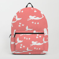 Mermaid Pattern Coral Pink Backpacks by Artist Abigail
