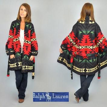 RALPH LAUREN hand knit wool vtg 90s cardigan wrap SOUTHWESTERN sweater, medium-large