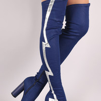 Lightning Bolt Round Heeled Over-The-Knee Denim Boots