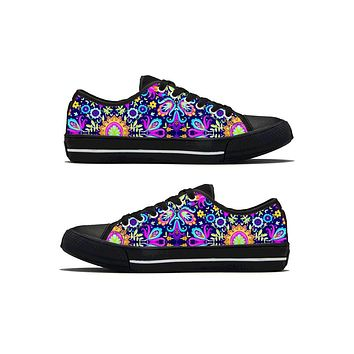 Floral Trip - Low Top Canvas Shoes