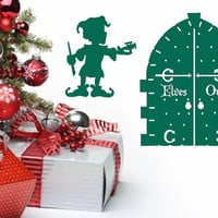 Christmas Elf and Door Removable Vinyl Wall Decal 22350