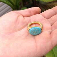 Turquoise wire wrapped gold ring - size 7 - size 8 - size 9 - size 6 - size 5 - natural stone ring - chunky ring - cocktail ring  -gemstone