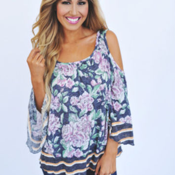Floral/Stripe Open Shoulder Top