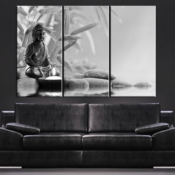CANVAS ART Gray Buddha Statue Canvas Print - Large Wall Art Canvas Print  Black and White 3 Panel Triptych Buddha Statue