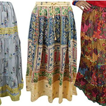 Mogul Womens Maxi Skirts Boho Printed Hippie Gypsy Long Skirts Wholesale 3 Lot