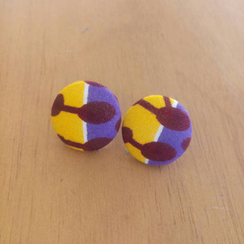 Purple and yellow Ankara Dutch African wax print kitenge circle button statement post stud earrings