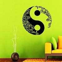 Wall Decals Mandala Vinyl Sticker Yin Yang Decal Home Decor Chinese Geometric Pattern Yoga Namaste Flower Om Yoga Studio Window Bedroom Dorm Living Room Chu1440