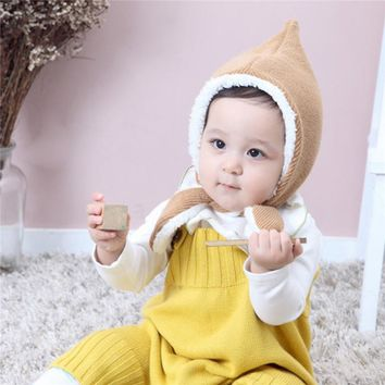 Children Boy Girl Hat Cute Tail Drawstring Tied  Plus Velvet Cotton Made Knit Thickened Hat Fur Ball Pompom Cap Beanie
