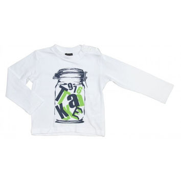 Fun&Fun - Boys Letters In Jar Long Sleeve T-Shirt, White