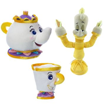 Beauty Beast Teapot Cup Candle Holders Soft Toy Mrs Potts Stuffed Toys Plush Dolls For Kids Birthday Christmas Gifts