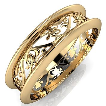 Marie Floral Pattern Design Filigree Eternity Wedding Band