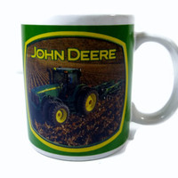 John Deere Licensed Tractor Plow Green Mug with Cotton Field and Grain Field