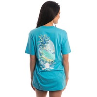 Tropical Timeout Pocket Tee in Pacific Blue by Lauren James