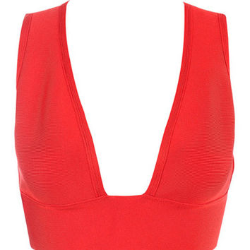 Deep V Red Bandage Bralette