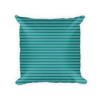 Striped White on Solid Color Cotton Poly Throw Pillow
