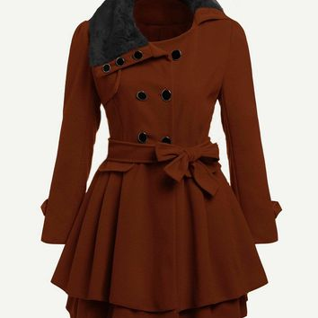 Brown Faux Fur Collar Double Layered Trench Coat