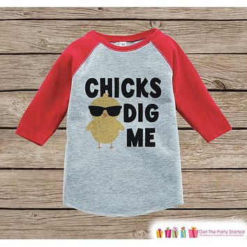 Humorous Boy's Easter Outfit - Chick's Dig Me Red Raglan Shirt - Baby Chick Spring Onepiece or Tshirt - Novelty Raglan Tee for Baby Boys