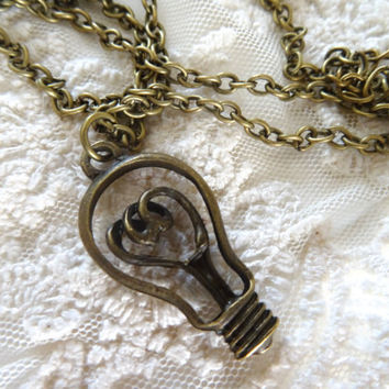1- Light Bulb Necklace Vintage Style Edison Light Bulb Wire Cut Out Unisex Charm Gifts Under 20 Dollars BuyDiy Finished Necklace