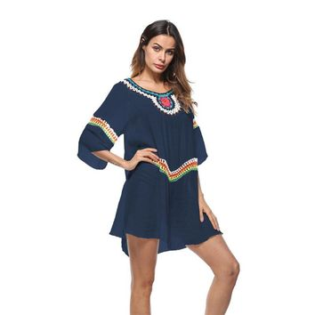 Women Colorful Crochet Hollow Out Patchwork Loose Vacation Holiday 3/4 Sleeve Leisure Bikini Cover Up Swim Beach Dress