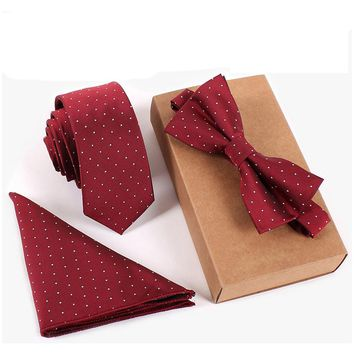 Necktie & Pocket Square & Bow Tie Set